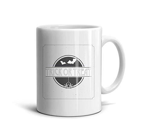 DoorSignHHH Bat Fly Trick or Treat Halloween Simple Coffee Mug Cute White Ceramic Gift Reusable Travel Cup