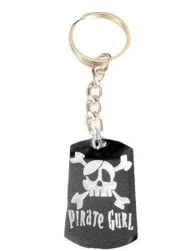 Pirate Gurl Girl Skull Cross Bones Eye Patch Logo Symbols - Metal Ring Key Chain Keychain]()