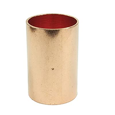 Libra Supply Copper Pressure Coupling with Dimpled Stop C x C, Copper Pressure Pipe Fitting Plumbing Supply