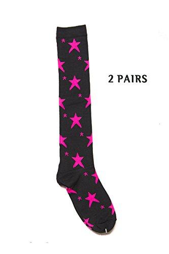 Womens Fashion Patterned Colorful Knee High Socks Stocking Cosplay Socks (One Size (9-11), Black/Pink (Stars) 2PAIRS) (Knee Skull Pink Socks)