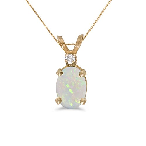 Opal Pendant 14k Gold - 14k Yellow Gold Oval Opal And Diamond Pendant with 18