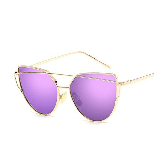 de de reflexiva J la Marca Cateye Aprigy señora de Sol del Gafas Moda del Sol Lente Espejo Las Gafas Sol Hombre para Mujeres Oro Rose de de Anti D Gafas Ixf1w