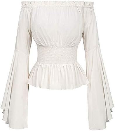 Mujeres Niñas Gótico Renacimiento Victorian Chemise Camisa Medieval Retro Campesina Wench Off Hombro Blusa Resistir Top Traje M Marfil: Amazon.es: Hogar