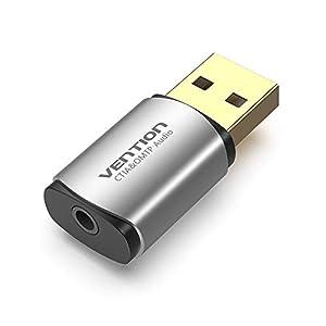 Vention Carte son externe USB, adaptateur audio USB 2.0 vers carte son stéréo 3,5 mm, compatible avec Windows et Mac, PC…