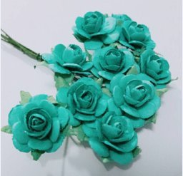 Amazon 100 pcs mini rose blue color mulberry paper flower of 100 pcs mini rose blue color mulberry paper flower of scrap booking wedding doll house supplies mightylinksfo