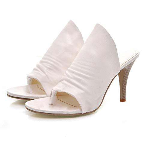 Cuir Plates Pied Chic Frestepvie en Chaussure Femme Mule Mode Blanc Sabots Chaussons Talon été xAA1RX0