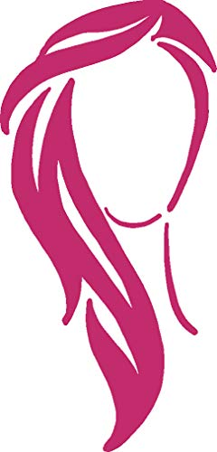 hBARSCI Woman's Hairstyle Vinyl Decal - 11 Inches - for Walls, Windows, Doors, Vehicles, Outdoor-Grade 2.5mil Thick Vinyl - Pink]()