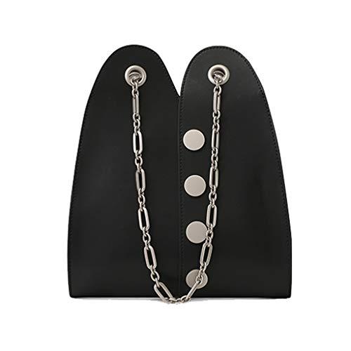 Design Bolso para Negro de Negro con de Cuero Mujer Cadena Color Mensajero Minority fr0qZf