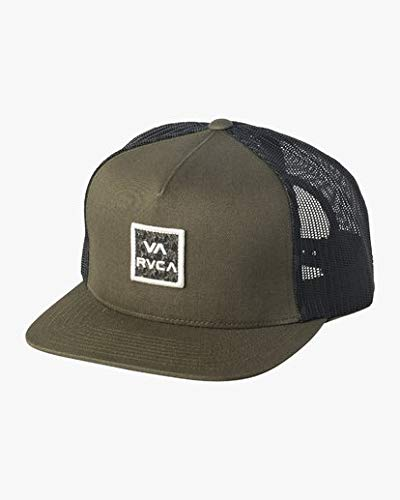 (RVCA Men's VA All The Way MESH Back Trucker HAT, Dark Green ONE Size)