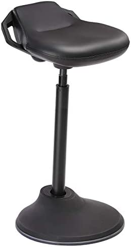 SONGMICS Standing Desk Chair, Swivel Ergonomic Standing Stool, Adjustable Height 24.8-34.6 Inches, Sitting Balance Chair Office, PU Black UOSC12BK