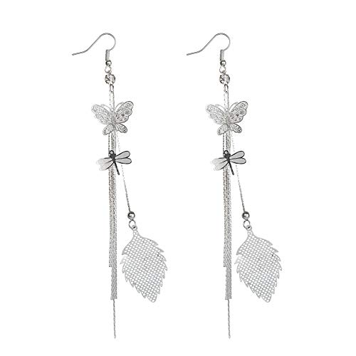 - Women Butterfly Earrings with Chain - Insect Earrings Tassel - Monarch Earring for Girls,Butterfly Party,Birthday or Daily Wear (Butterfly Dragonfly Leaf Earrings Silver)