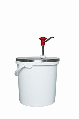 Dispensador de salsa con 10 litros de capacidad, de acero inoxidable, con botón de