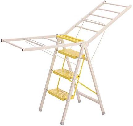 ラダーステップスツールステップスツールホームフロアタイプ折りたたみラダー多機能ハンガー屋内兼用ステップスツール折りたたみステップスツール(色:黄色、サイズ:50 * 123CM)