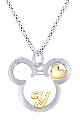 AFFY Initial Letter Y Mickey Mouse Heart Two Tone Pendant Necklace 14k White Gold Over Sterling - Pendant Tone 14k Two