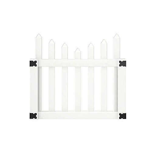 Pro Series 42 in. x 4 ft. Vinyl Westchester Scalloped Spaced Picket Fence Gate (Scalloped Vinyl Fencing)