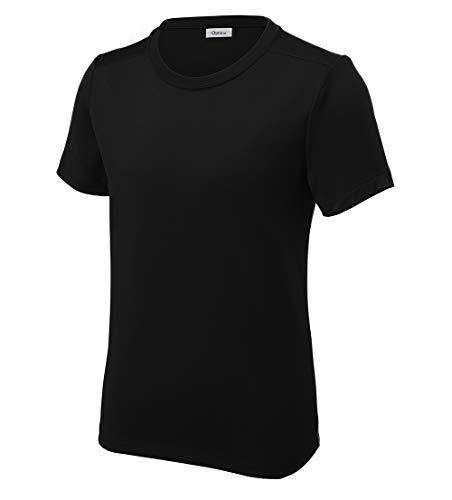 Opna Youth UPF 50+ UV Sun Protection Long or Short Sleeve Boys Girls T-Shirt Athletic Outdoor True Black ()