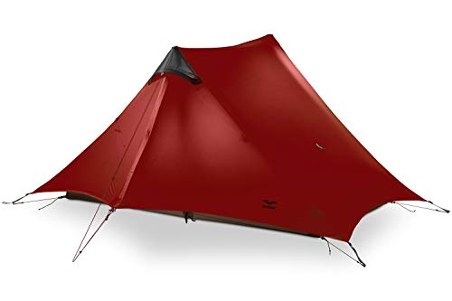 MIER Ultralight Tent 3-Season Backpacking Tent for 1-Person or 2-Person Camping, Trekking, Kayaking, Climbing, Hiking (Trekking Pole is NOT Included), red and Black, 2-Person