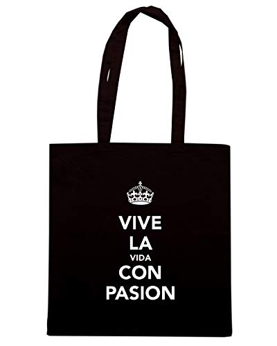Speed Shirt Borsa Shopper Nera TKC1603 VIVE LA VIDA CON PASION