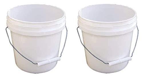 1-Gallon Encore Plastics 10128 Industrial Plastic Pail White with Handle Pack of 5