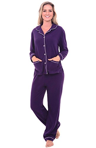 Alexander Del Rossa Womens Fleece Pajamas, Long Button Down Pj Set, Large Deep Purple (A0324DPULG)