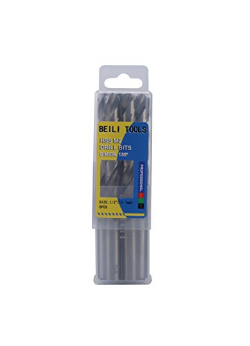 0.5 Inch High Speed Drill - HSS M2 Metal Jobber Twist Drill Bits, Pack of 5 (1/2