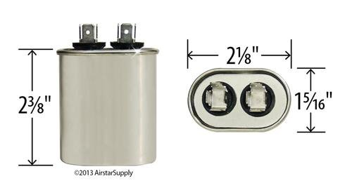 Made in The U.S.A. 2 Pack Janitrol B945651 Replacement 7.5 uf//Mfd 370//440 VAC AmRad Oval Universal Capacitor