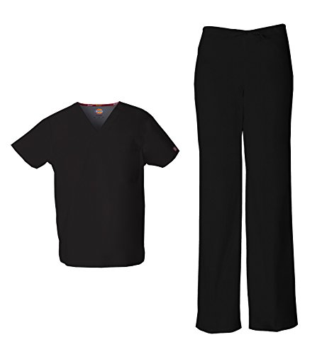 Dickies EDS Signature Unisex V-Neck Scrub Top 83706 & Unisex Drawstring Scrub Pant 83006 Scrub Set (Black - Large/Large)