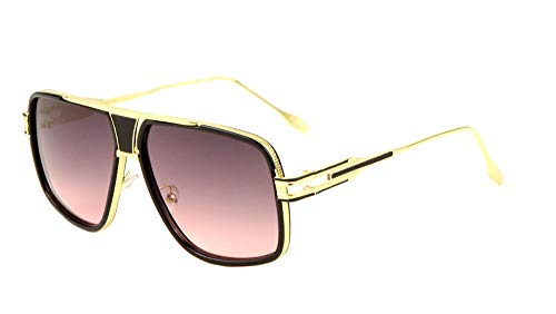 994231e0d2 Gazelle Tycoon Aviator Sunglasses w Multicolor Lenses (Black   Gold