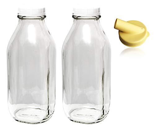 The Dairy Shoppe 1 Qt Glass Milk Bottle Vintage Style with Cap & NEW Pour Spout! (2 Pack) ()