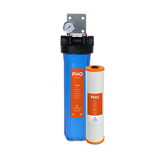 Express Water Anti Scale Whole House Water FIlter - Home Water Filtration System - Polyphosphate Conditioner - includes Pressure Gauge, Easy Release, and 1