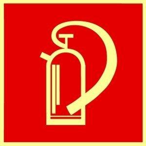 Brandschutzzeichen Symbolschild Feuerlöscher DIN Kunststoffplatte nachleuchtend &. selbstklebend 150x150mm