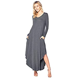 12 Ami Curved Hem V-Neck Long Sleeve Maxi Dress (S-XXXL) – Made in USA