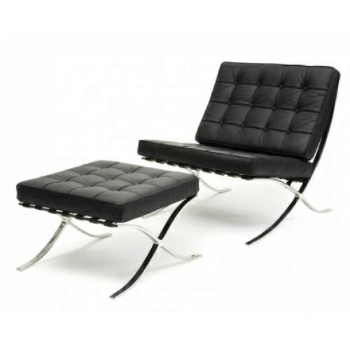 (ModStone - Barcelona Pavilion Lounge Reception Love Seat Chair and Ottoman Black Top Grain Leather by Mies Ven Der Rohe)