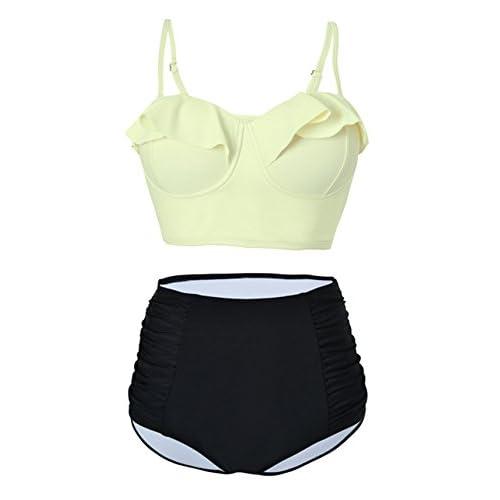 c085eade5a Womens Retro Vintage Falbala Top Bikini Set Bathing Suit Push Up Kawaii  Midkini Swimsuit 50%OFF