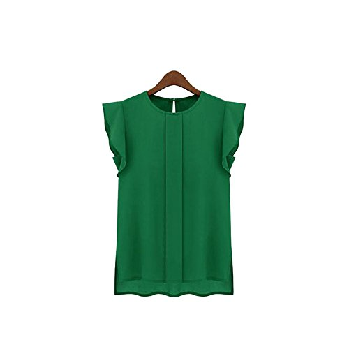 Han Shi Chiffon Blouse, Clearance Women Fashion Casual Loose Short Tulip Sleeve Shirts (Green, L)