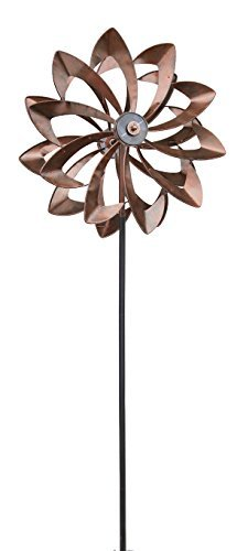 Solar LED Flower Wind Spinner, Metal, Bronze, 21 1/2 in dia. x 11 1/2 in D x 75 in H (Show And Patio Hearth)