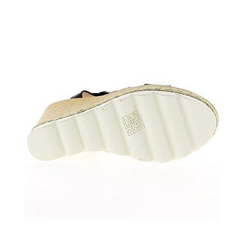 Sandales compensées noires à talon de 11cm et semelle épaisse