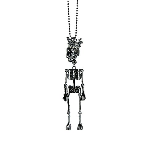 Twinkle Crystal Metal Pendant Necklace - Rope Skull (Black)