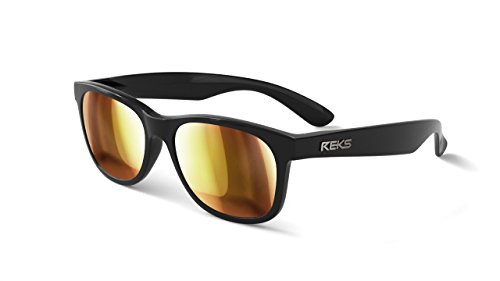 - REKS Polarized Unbreakable SEAFARER Sunglasses, Black Frame, Gold Mirror Lens