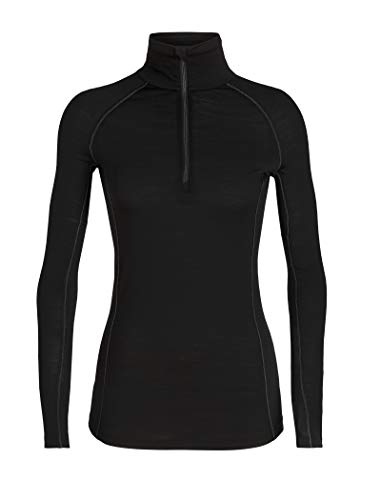 Icebreaker Merino Women's 150 Zone Long Sleeve Half Zip Jacket, Black/Mineral, Large