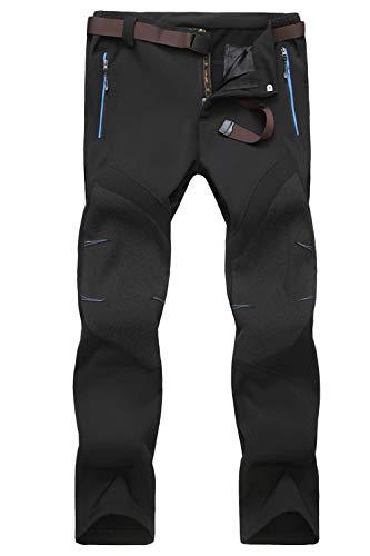 MAGCOMSEN Men Skiing Pants Waterproof Softshell Pants Belted Climbing Pants Zip Pockets Snowboarding Pants Men (Best Softshell Climbing Pants)