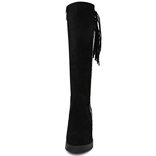 Frangesd Black Bottes Compense Femmes Zanpa Hiver Chaussures wxYXPUUq