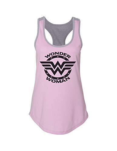 Superhero Womens Fashion Tank Tops Wonder Woman Royaltee Workout Shirts X-Large, Pink/Grey