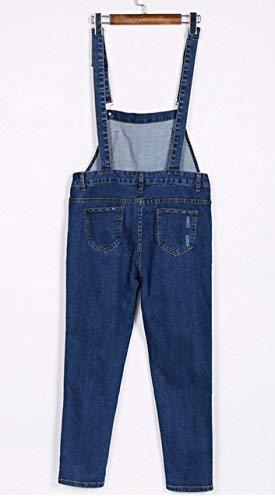 Classiche Strappato Fashion Vintage Tutine Pantaloni Donna Ragazzi Eleganti Tuta Jeans Straps Blau Casual Salopette Cavo Regolabile 1w48Tq