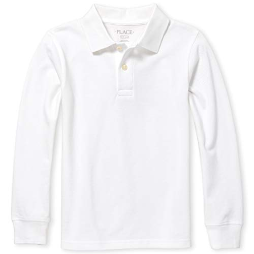 The Children's Place Boys' Little Long Sleeve Uniform Polo, White, Small/5/6 (Shirt Boys White Big)