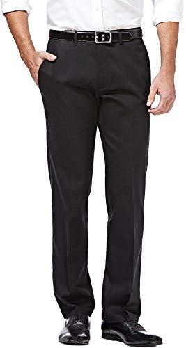 Haggar Premium No Iron Khaki Stretch Straight Fit Flat Front Pant Black 33x32