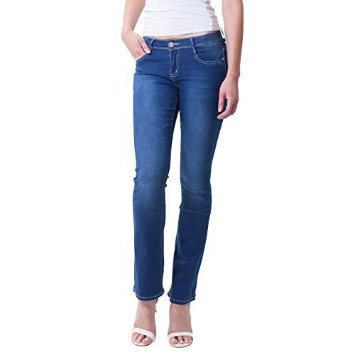 Pantalones Para Bestyledberlin Azul Boot Vaqueros Mujer Cut I4xHBx