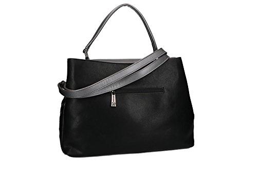 Tasche damen mit schultergurt PIERRE CARDIN schwarz Knopföffnung VN1755 HUKxT7cL3f