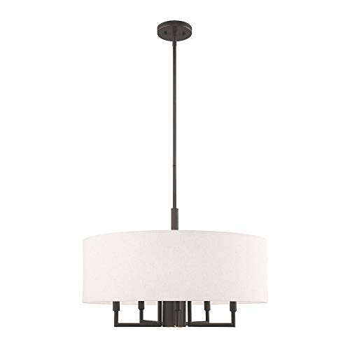 - Livex Lighting 42605-92 Meridian - Six Light Chandelier, English Bronze Finish with Oatmeal Fabric Shade