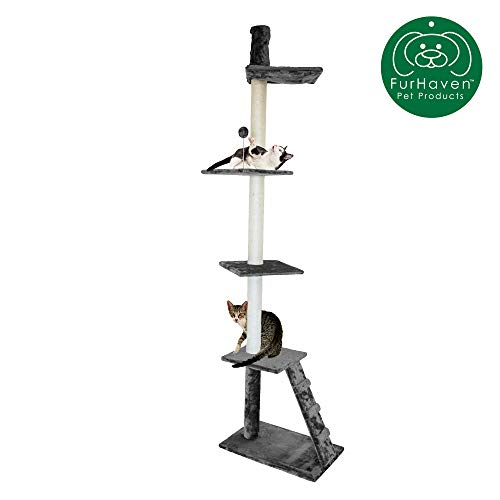 Furhaven Pet Cat Tree | Tiger Tough Cat Tree House Perch Entertainment Playground Furniture for Cats & Kittens, Ladder Playground, Gray